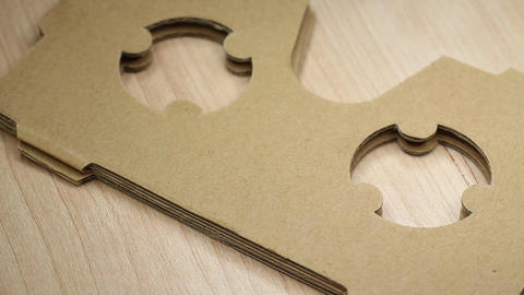 Cardboard Glasses For Virtual Reality Smartphone Accessories On Rotating Table 3 stock footage