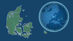 Denmark and Globe. Relief Animation