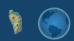 Dominica and Globe. Relief Animation