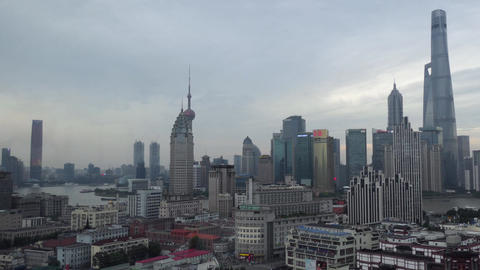 Chinese Architecture Skyline Skyscrapers Modern Buildings In Shanghai China Asia Footage