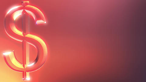 Glass dollar sign against red and orange background Live Action