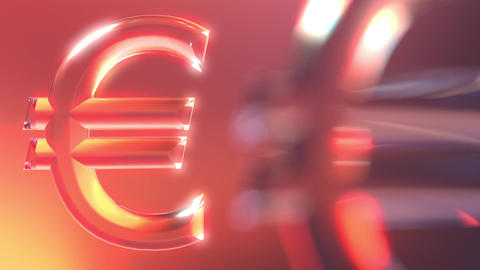 Moving glass euro signs Live Action