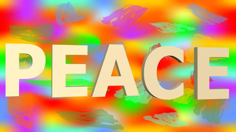 For peace animation with anti war symbol on rainbow background. 3d antiwar sign Animación
