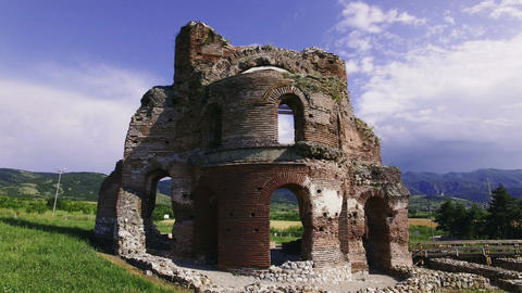Ancient Christian temple ruins antique Roman architecture drone footage Archivo