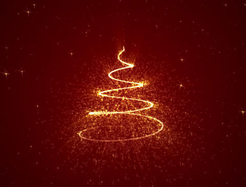 Red Holiday Background. Glowing Christmas Tree forming surrounded by stars Animation