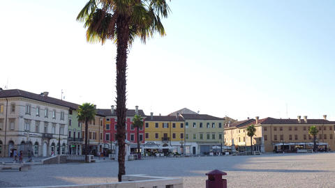 PALMANOVA, ITALY - AUGUST 11, 2017. Central city square pan shot Footage