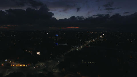 Aerial cityscape at night - skyline cloudscape Footage
