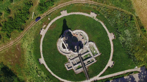 Old Christian Temple Ruins top view aerial 4K Image