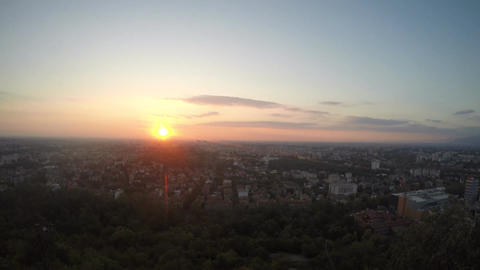 Cityscape timelapse at sunset, ultra wide-angle, cloudscape, new day, beginning Live Action