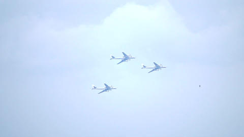 Three Russian turboprop strategic bombers flying in formation Footage