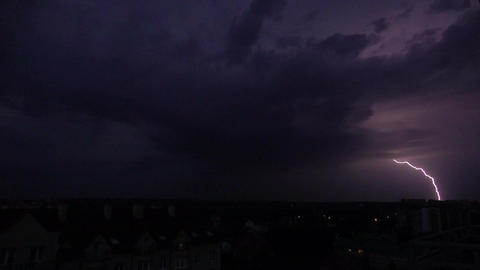 Super slow motion shot of a heavy lightning strike at night Footage