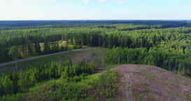 Flyover aerial shot of forest and deforestation Footage