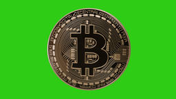 Rotating Realistic Bitcoin - Green Screen - Loop - 4K Animation