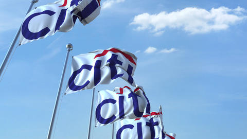 Waving flags with Citi logo against sky, seamless loop. 4K editorial animation Footage