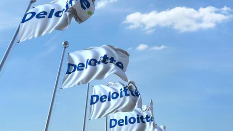 Waving flags with Deloitte logo against sky, seamless loop. 4K editorial Footage