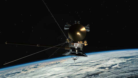 Satellite similar with the Cassini orbiting planet earth. Communications Footage