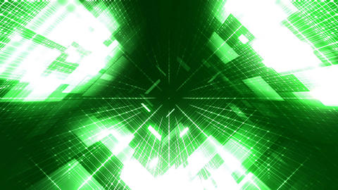 Looping animation of a binary code corridor - green Animation