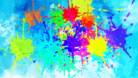 Colorful ink drop in water. Falling colorful ink in water with blue background Animation