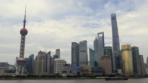 Skyline Of Shanghai China Asia With River On The Bund Footage