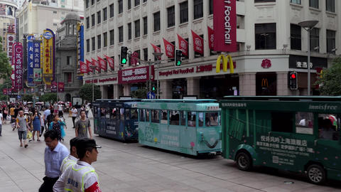 People And Tourists Shopping In Downtown Shanghai China Asia Footage