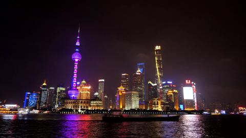 Timelapse Of Shanghai China Asia Chinese City View At Night Footage