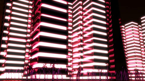 Night scene of night Metropolis. Loopable. Red Animation