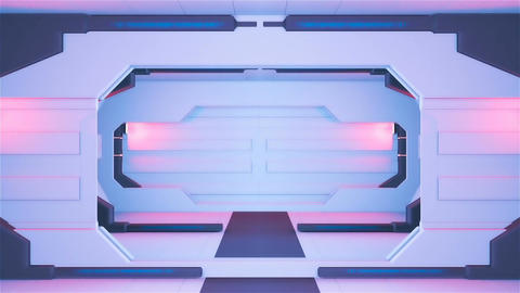 Abstract sci-fi spaceship corridor. Loopable Animation