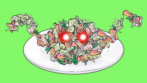 Creeping fried vegetables Animation