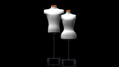 Display Mannequins On Black Background Animation