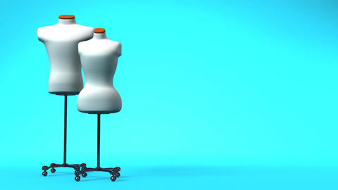 Display Mannequins On Blue Text Space Animation