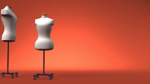 Display Mannequins On Brown Text Space Stock Video Footage