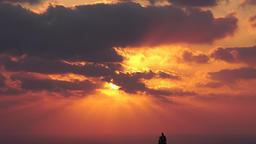 Deep cloudy sunset over the ocean Archivo