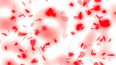 Valentine's day and wedding abstract background,flying red hearts and particles Footage