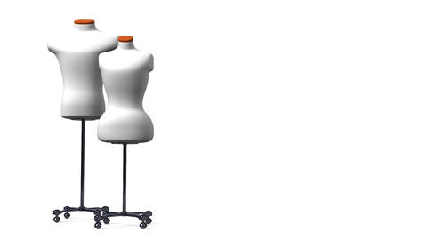 Display Mannequins On White Text Space Animation