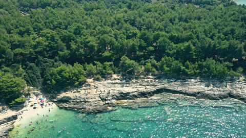 Aerial view of a small rocky beach on the Adriatic sea Footage