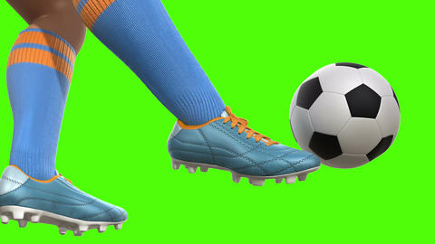 Shooting on goal in slow motion on a green screen Animation