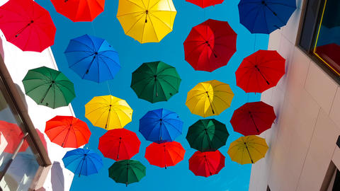 Street Decorated With Colored Umbrellas Footage