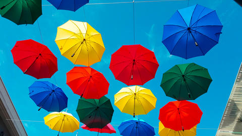 Street Decorated With Colored Umbrellas Image