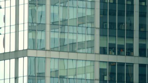 Telephoto shot of office high-rise building. Rise, success or modern Footage