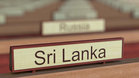 Sri Lanka name sign among different countries plaques at international Footage