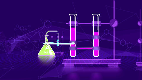 Chemical laboratory in flasks connected with bulbs Animation
