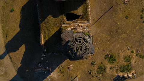 Flight over a ruined and abandoned church Archivo