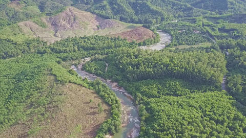 Flycam Moves above Mountain River against Tropical Plants Footage