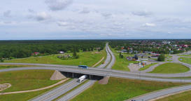 Aerial Footage of Highway with cars and trucks Footage