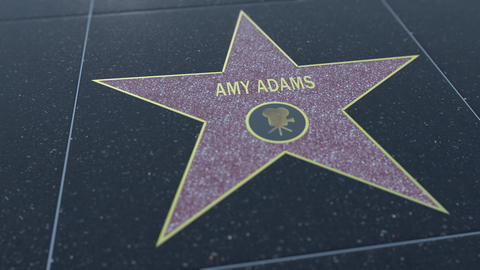 Hollywood Walk of Fame star with AMY ADAMS inscription. Editorial 4K clip Footage