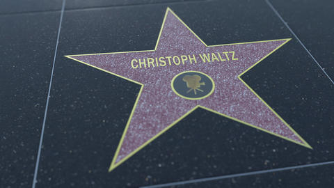 Hollywood Walk of Fame star with CHRISTOPH WALTZ inscription. Editorial 4K clip Live Action