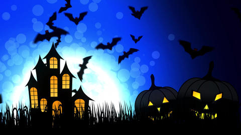 Halloween Castle in Blue Background Animation