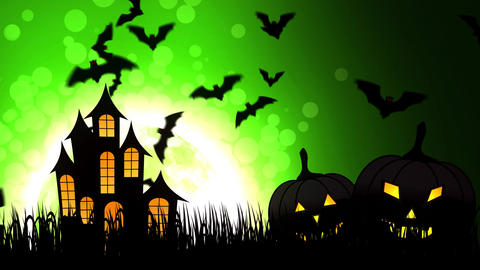 Halloween Castle in Green Background Animation