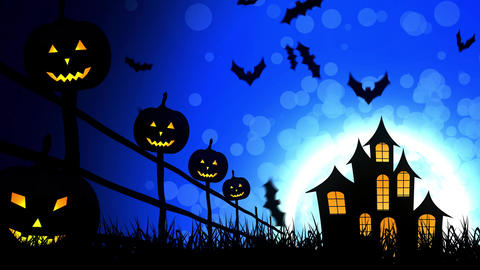 Halloween Castle Pumpkins in Blue Background Animation