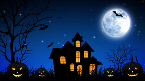 Halloween Night Castle in Blue Background Animation